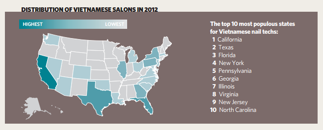 nail industry stats infograph 3 - distribution of vietnamese salons